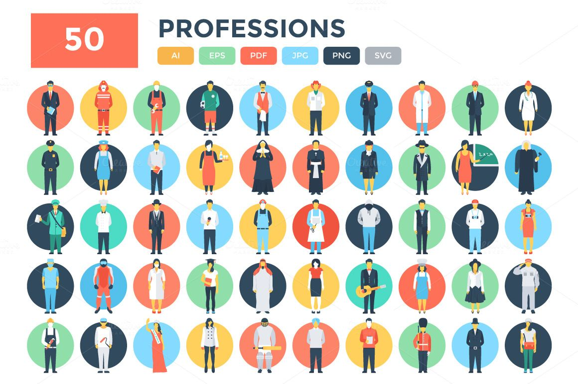 50 Flat Professions Vector Icons Flat icon, Vector icons