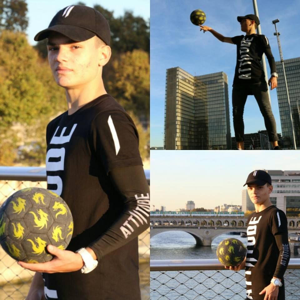 With Love from Paris.  Freestyle footballer Anas Boukami with his brand new Attiitude #myattiitude #alternativefashion #menswear #paris #freestyle #football