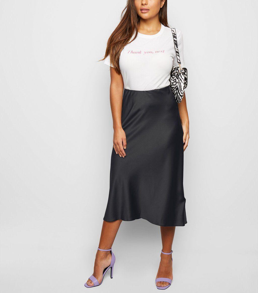 a5b322e88 Petite Black Satin Bias Cut Midi Skirt in 2019 | Spring 2019 Fashion ...