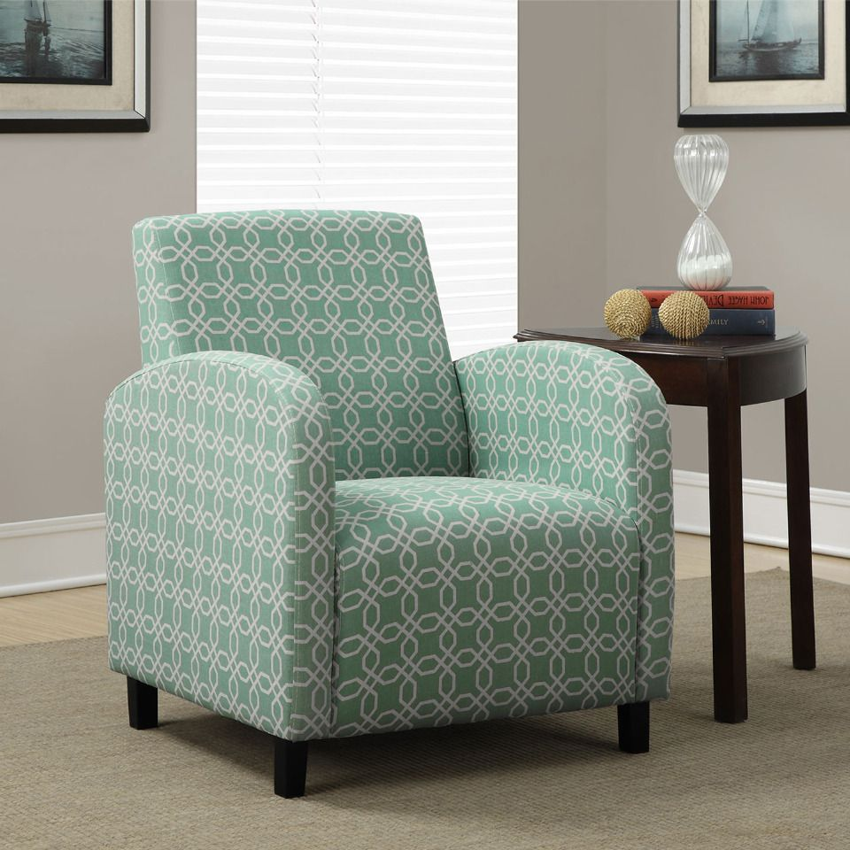 Monarch - 33 Angled Kaleidoscope Accent Chair in Green