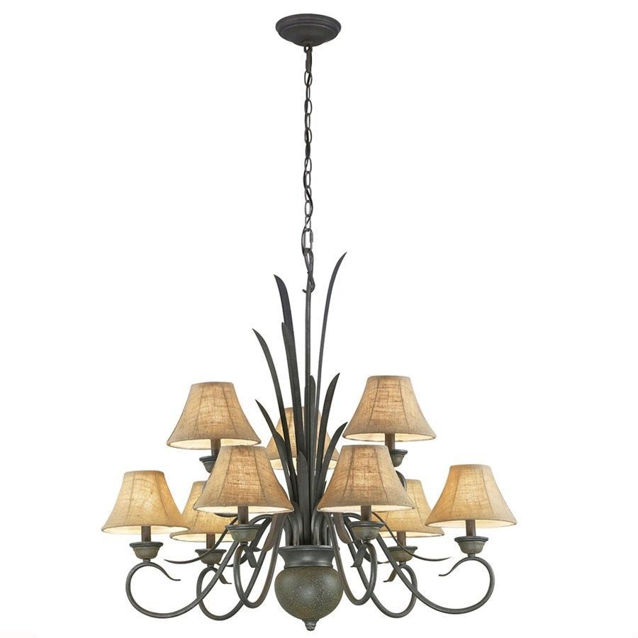 Portfolio 9 Light Specialty Bronze Chandelier Burlap Fabric Shades New 250860