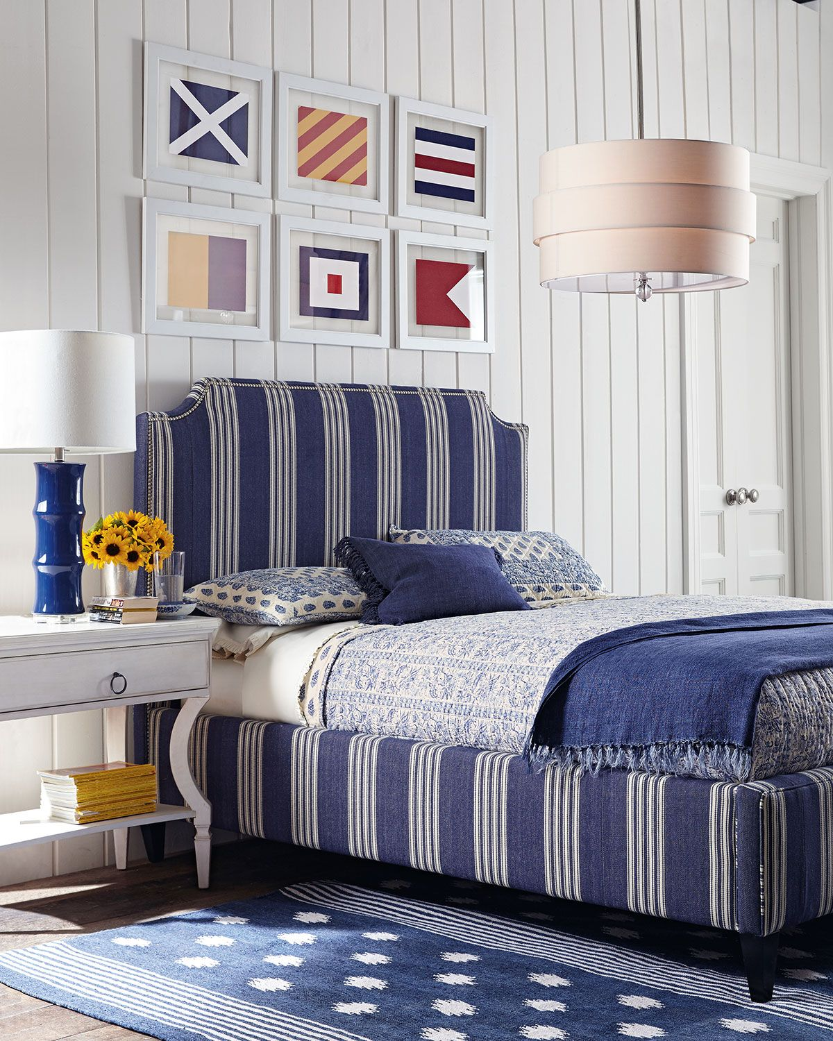 Nautical Bedroom nautical #bedroom blue and white stripes - nautical flags on white