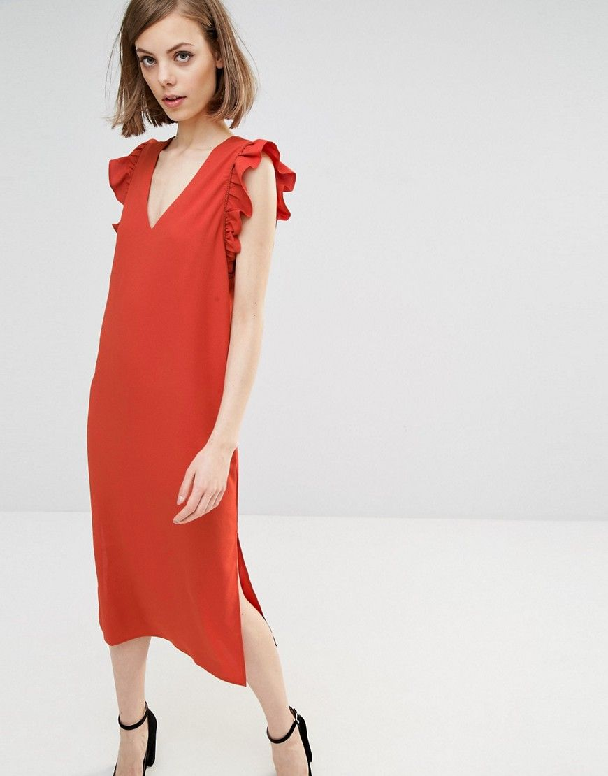 Lost+Ink+Midi+Dress+With+Frill+Sleeve
