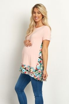 Light-Pink-Floral-Accent-Short-Sleeve-Top