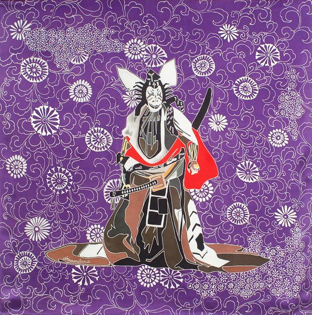 samurai purple silk scarf