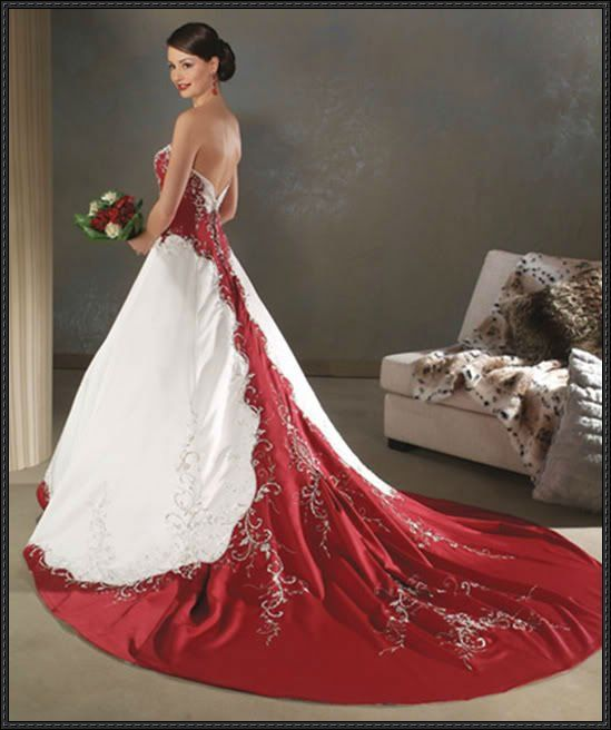 Crimson And White Wedding Dress Google Search
