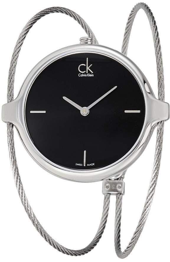 6545a2586d4 Calvin Klein Agile Black Dial Bangle Ladies Watch