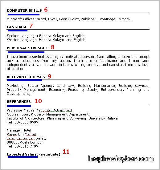 Koleksi Contoh Resume Lengkap Terbaik Dan Terkini - Contoh Resume - how to do a resume on microsoft word