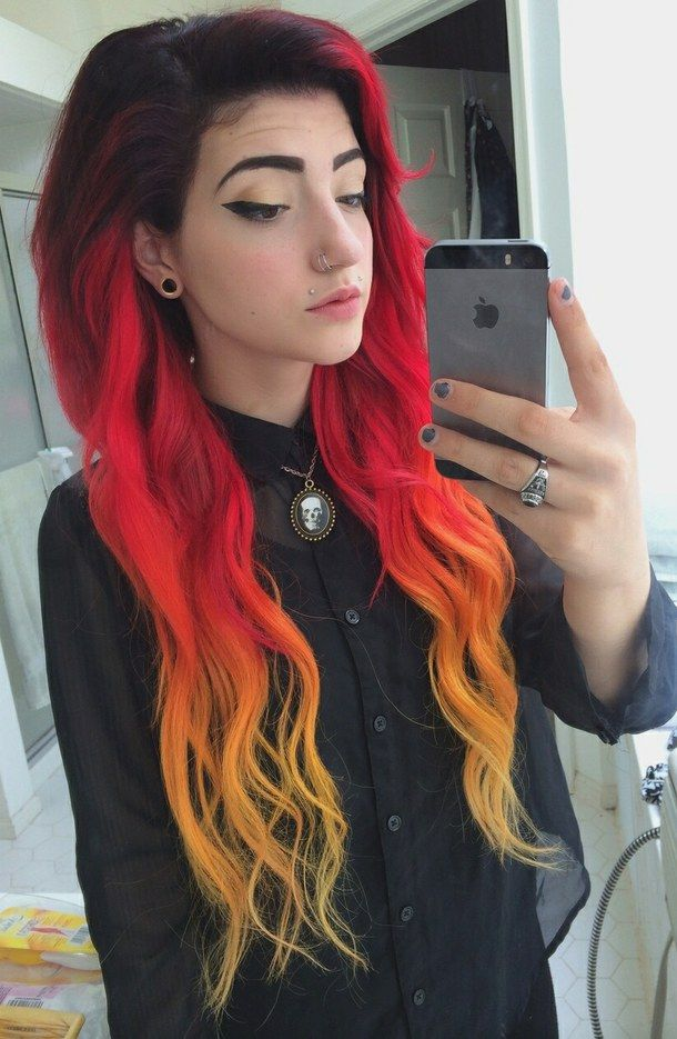 AlternativecolorfulhairfiregirlFavim60 Hair Color Beauteous Favim I Am My Own Team