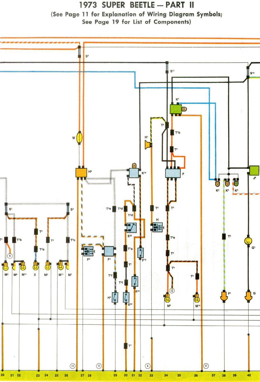 1973 Super Beetle Wiring Diagram | TheGoldenBug.com | Diagram, Beetle, Wire