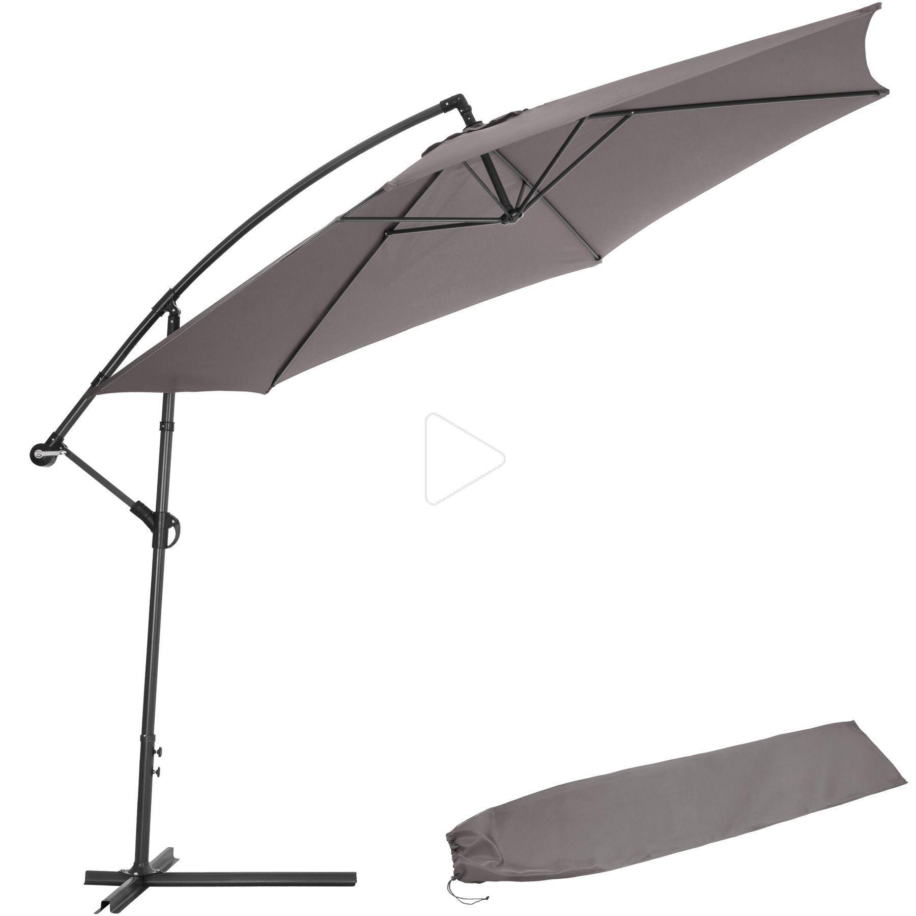 Sonnenschirm Ampelschirm O 350cm Mit Schutzhulle Grau In 2020 Sonnenschirm Ampelschirm Sonnenschirm Ampelschirm