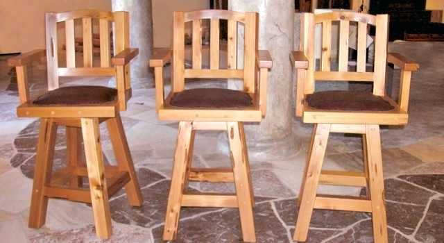 Excellent Wooden Swivel Bar Stools With Backs And Arms Chairs Creativecarmelina Interior Chair Design Creativecarmelinacom