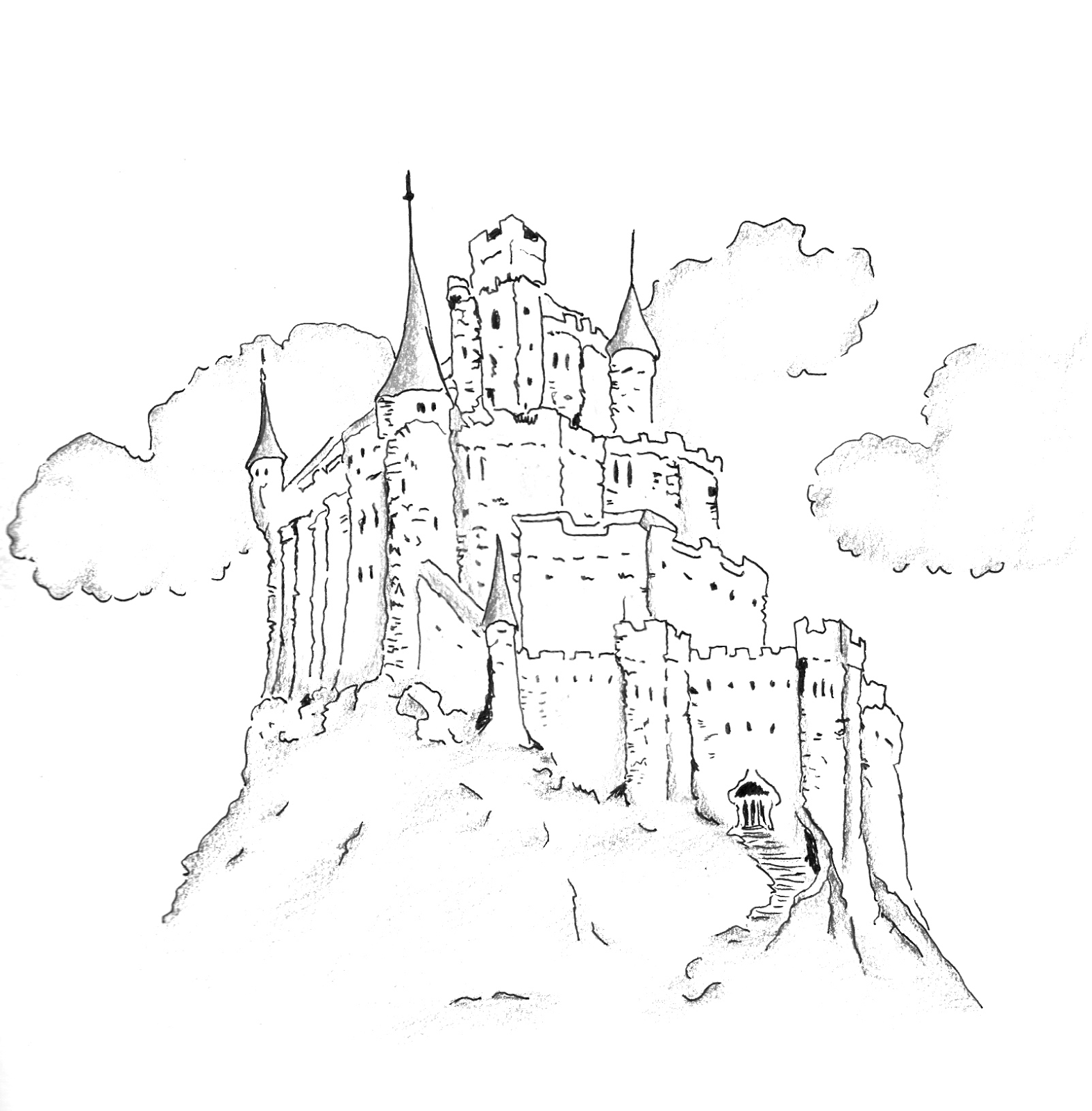Pin by Albina on Sketchbook | Art drawings simple, Castle ...