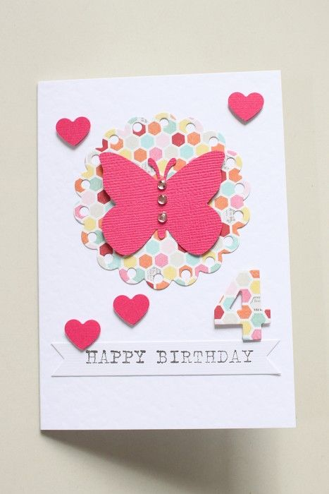 Girls birthday card butterfly hearts by littlethings on madeit craft girls birthday card bookmarktalkfo Images