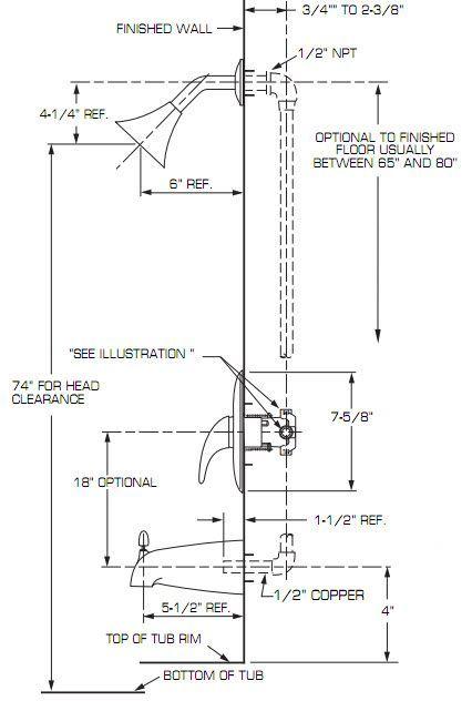 Standard Shower Head Height Shower Plumbing Diy Plumbing