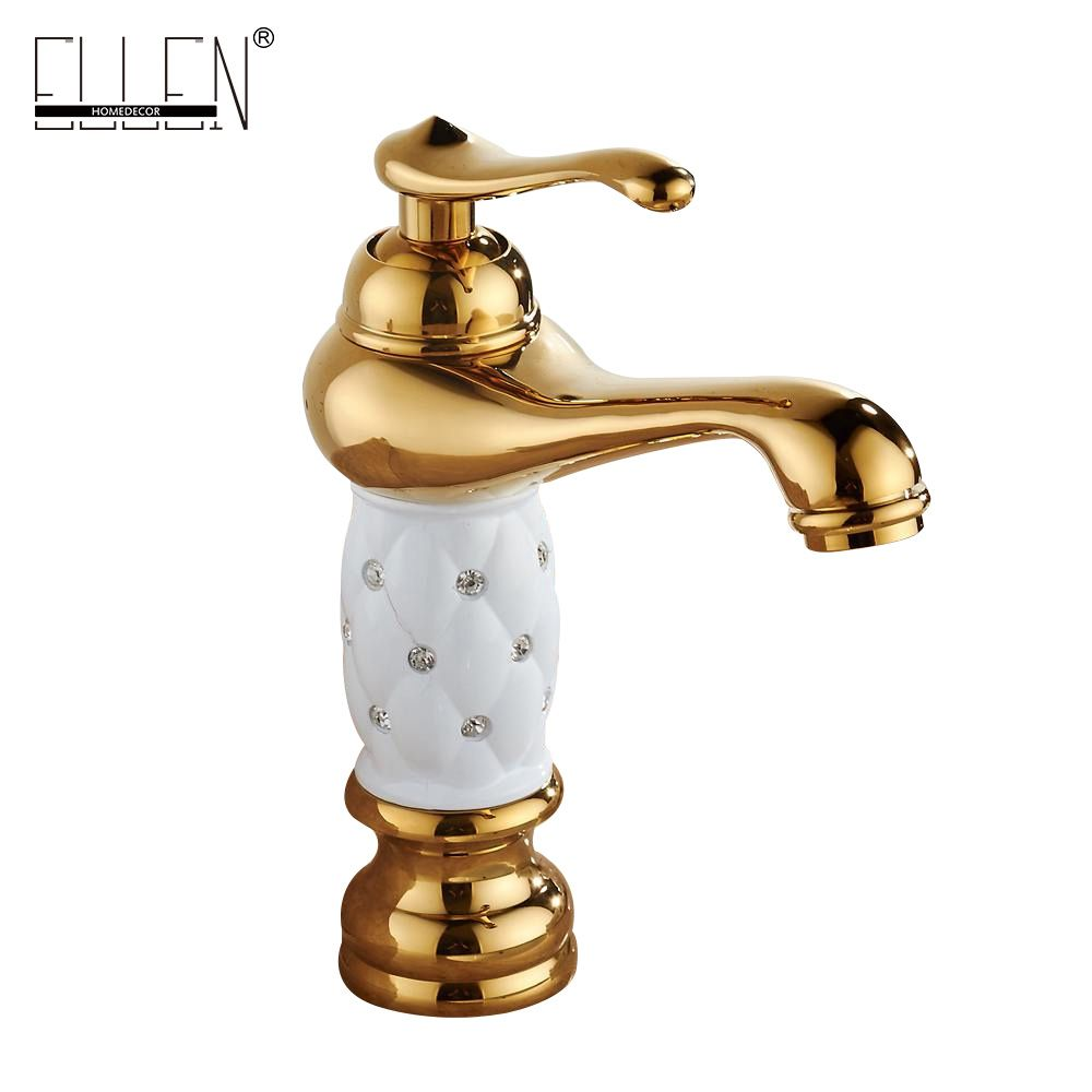 Gold bathroom sink faucet hot cold water mixer tap crane with ...