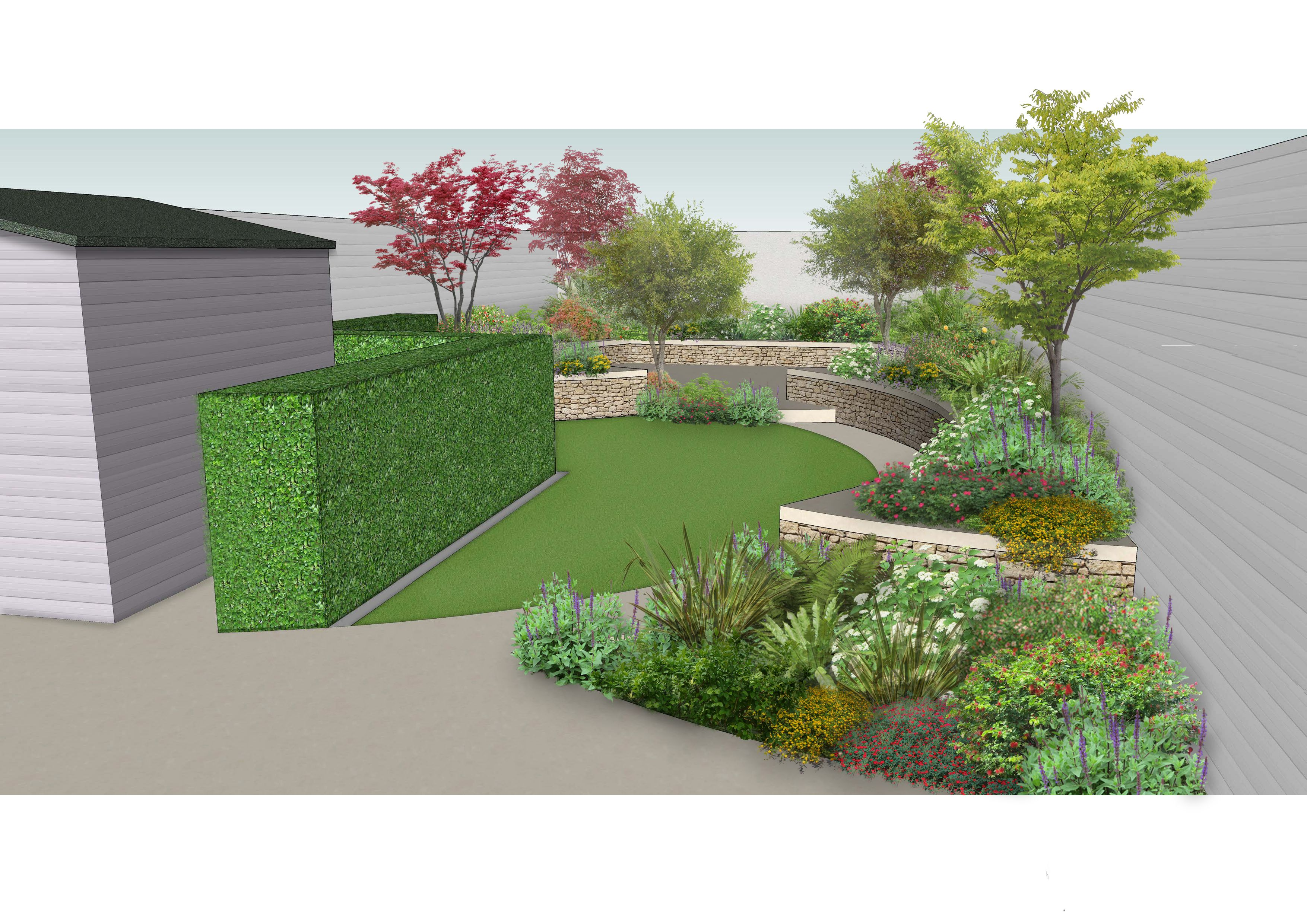 Design Visual For A New Garden Using Planting And Raised Beds To Create A Series Of Focal Points And Spaces Within Space Www Owenc Garten Ideen Terassen Garten