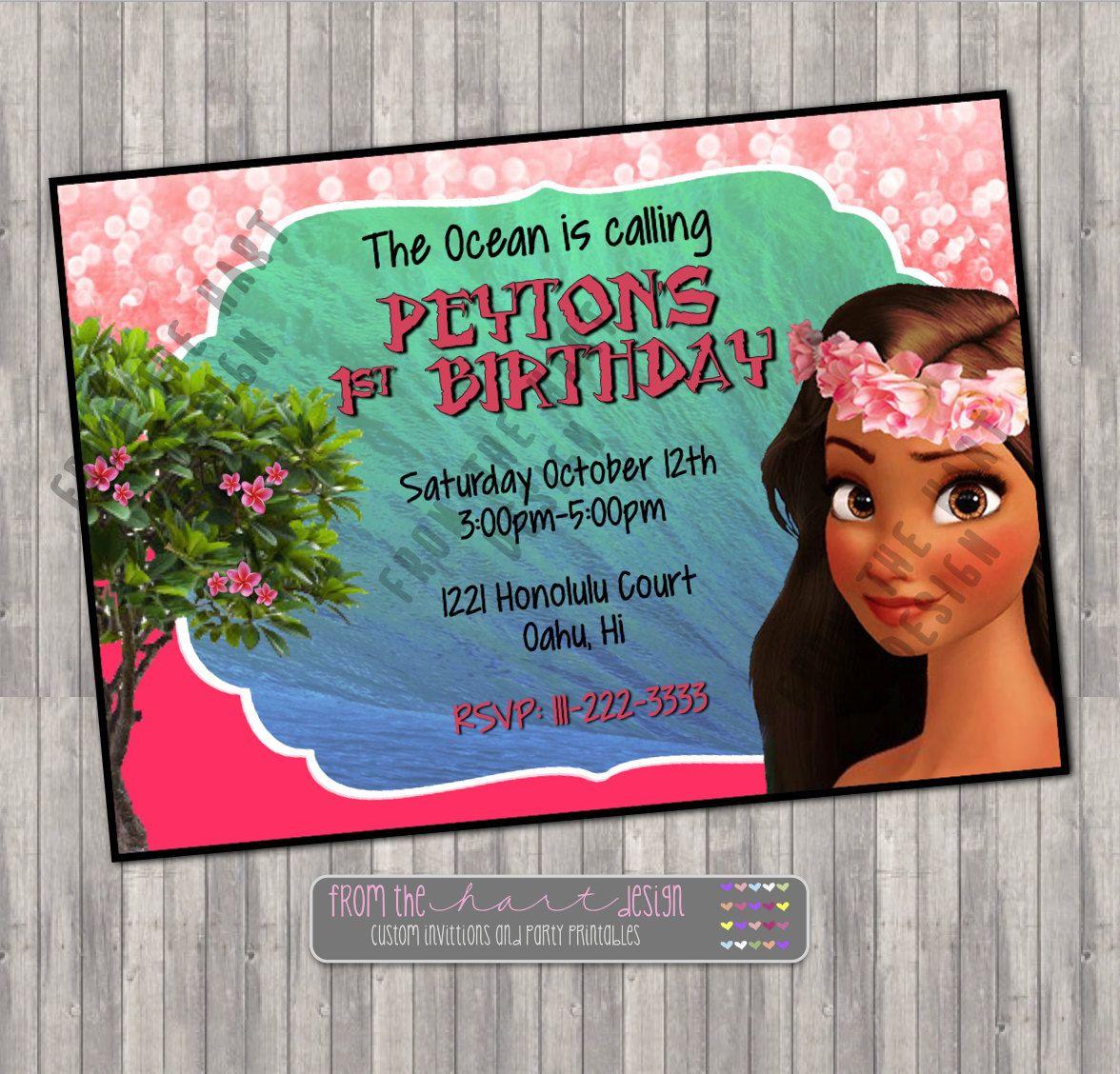 birthday party invitations printable%0A Moana Invitation  Moana Birthday Party  Moana Birthday Invitation  Disney  Princess Moana  Wild Girl  Personalized  Printable  Digital File
