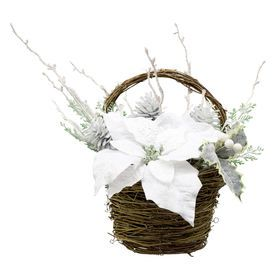 Picture of 16in Poinsettia, Berries and Pinecone Twig Basket