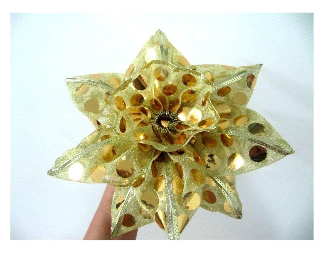 Moños Flor Dorada De Navidad En Cintas De Organza Ribbons Christmas Fl Fabric Crafts Paper Bow Ribbon Crafts