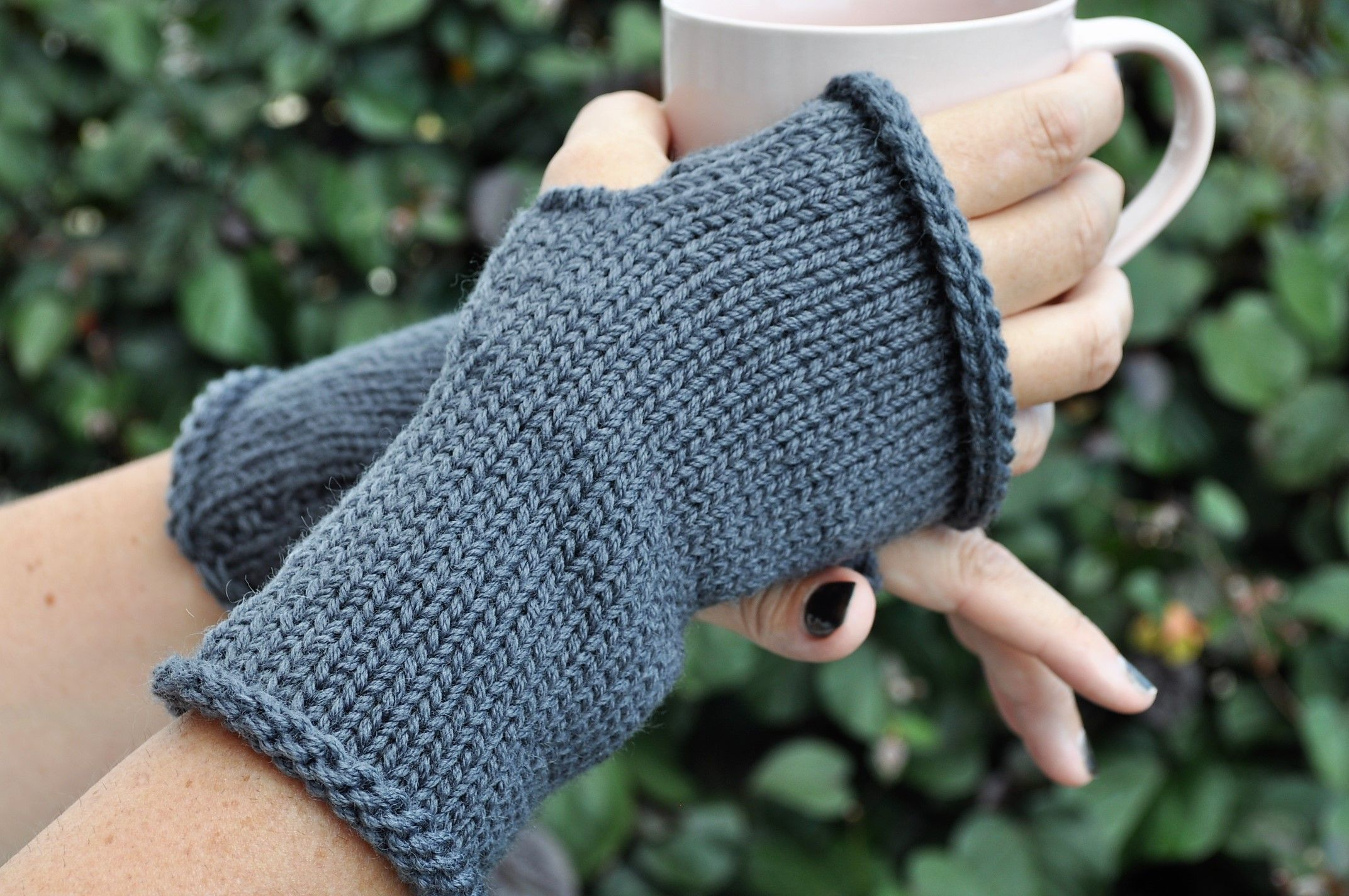 These Smoke Grey Fingerless Mitts Are Perfect For Winter