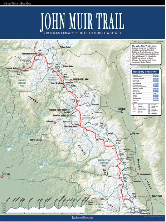 John Muir Trail Map  I       love maps    Just and for the Thrill  of It     John Muir Trail Map  I       love maps