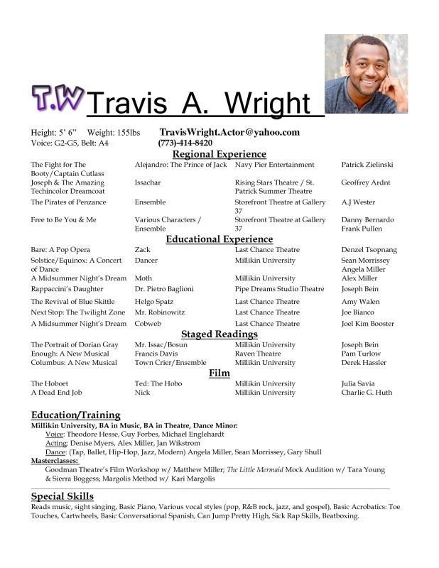 Acting Resume Format Acting Resume With Experience How Make For Format Your Film