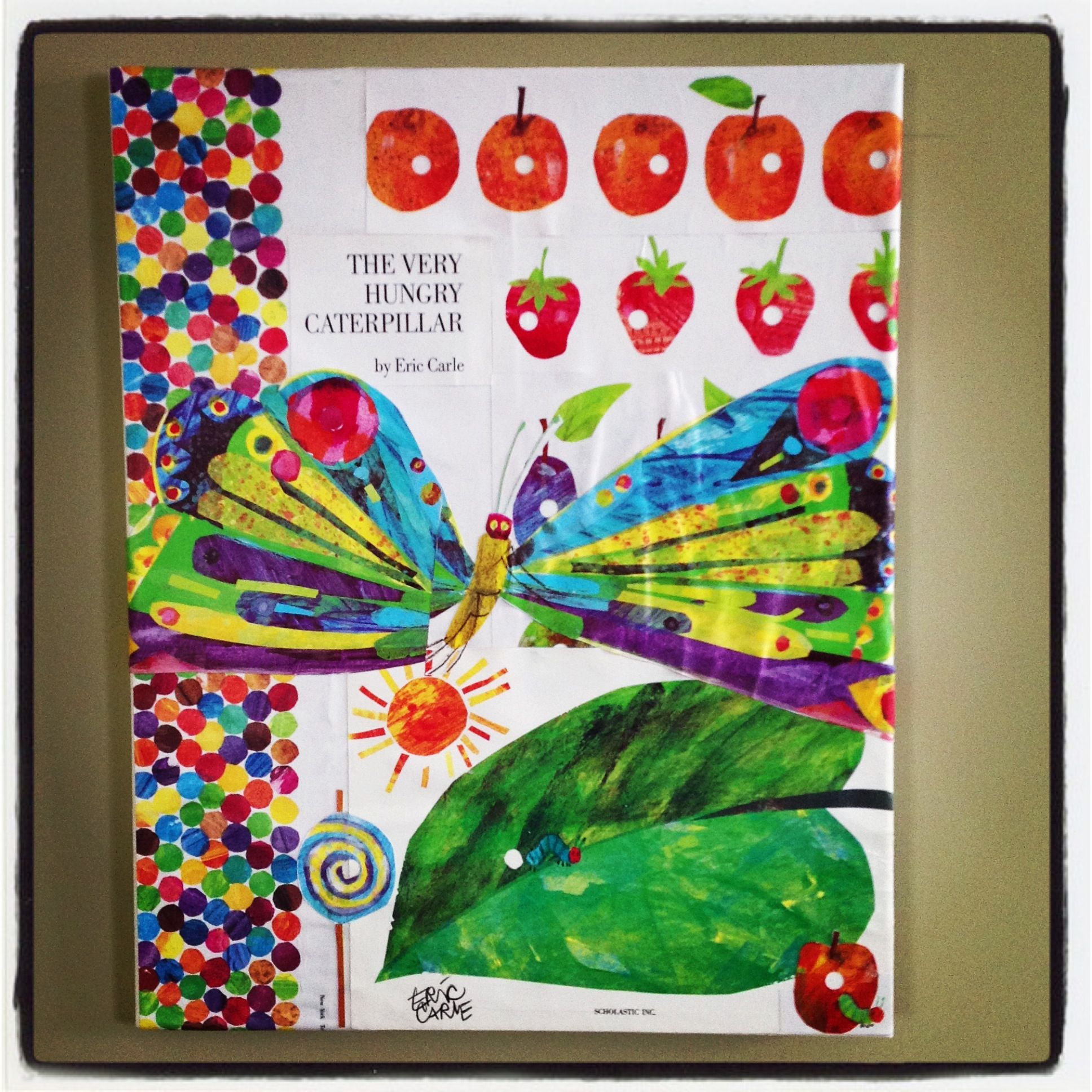 My very hungry caterpillar nursery project for baby B! Loved the way it turned out! Modge podge on canvas, easy!