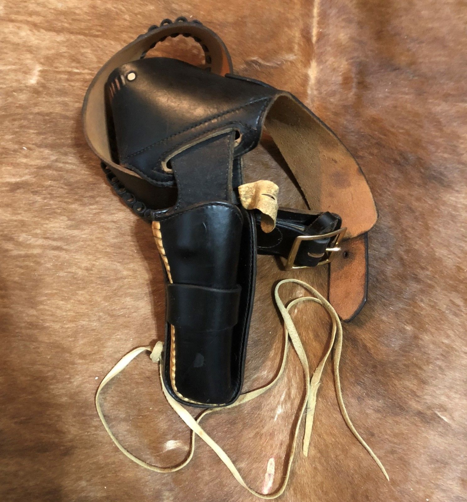 e1f573f30a6c VINTAGE EUBANKS LEATHER GUN HOLSTER RIG MADE IN USA CIRCA 1970 s SIZE 34