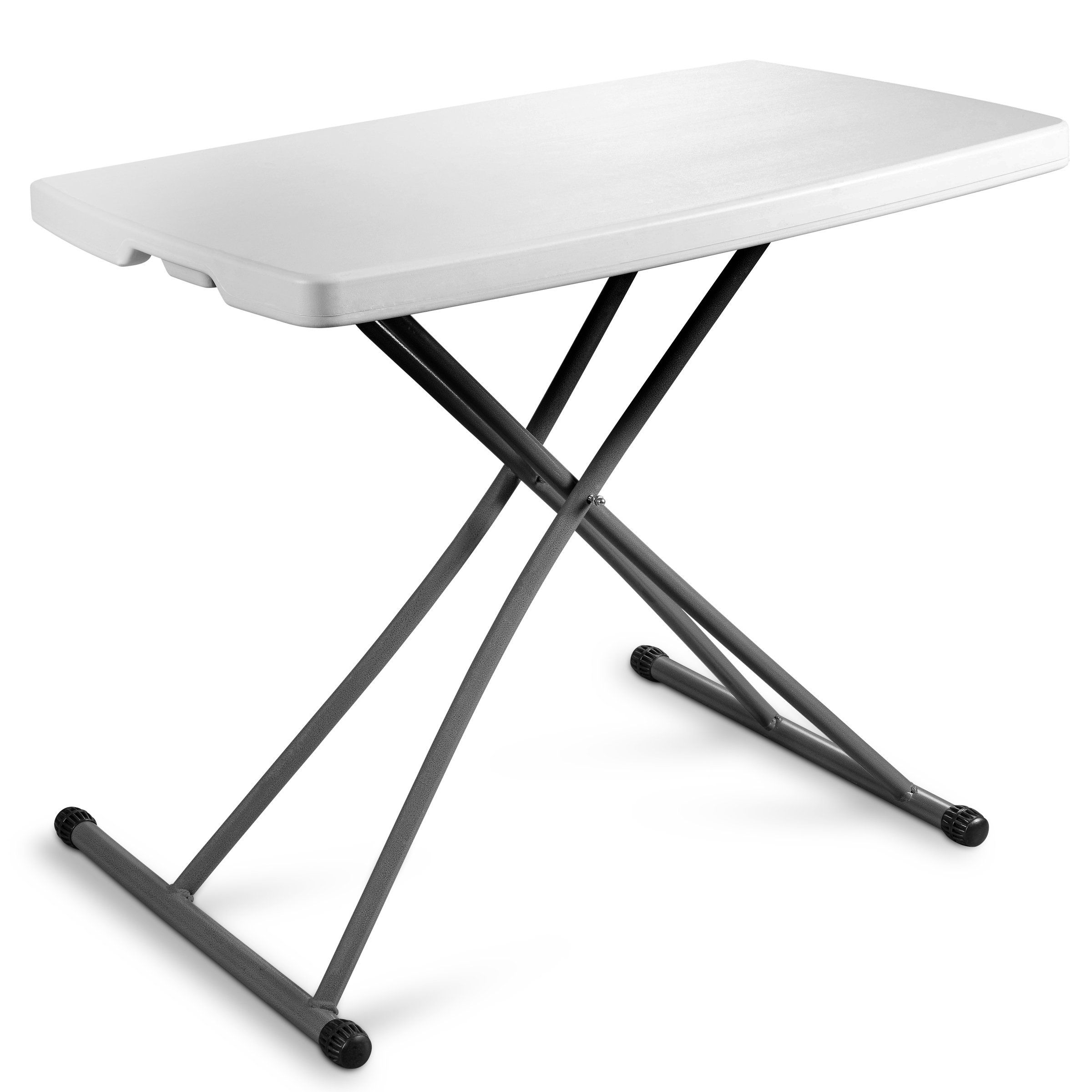 Zimmer Personal Folding Table Sturdy And Durable Steel Frame Legs, 4  Adjustable Heights, Quick