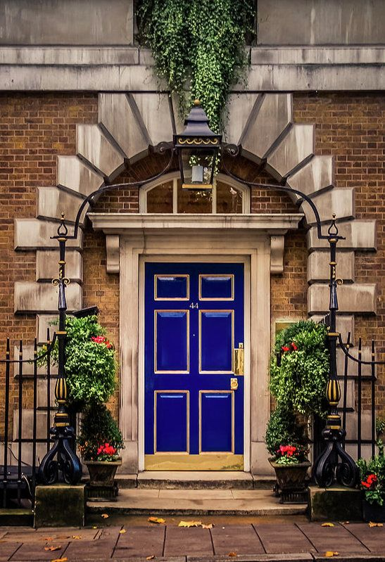 England Print featuring the photograph London Townhouse Doorway by Alex Saunders