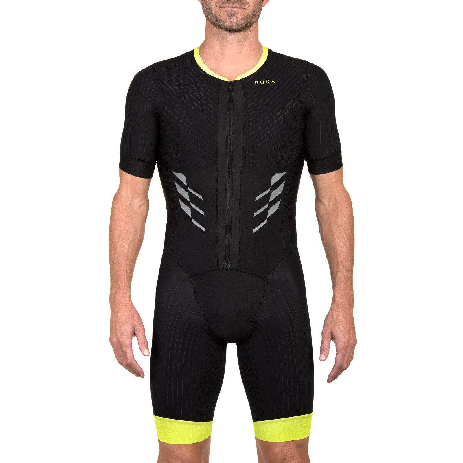 Product Detail Men s Elite Aero Short Sleeve Tri Suit This one-piece short  sleeve tri suit is designed to provide the optimal balance of aerodynamics a202033c1