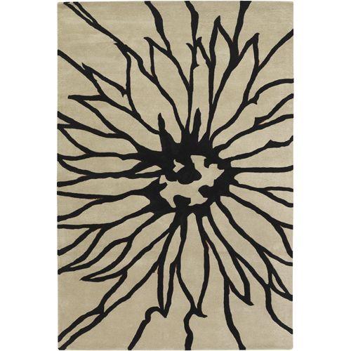 Rose Flower Rug in Black Taupe