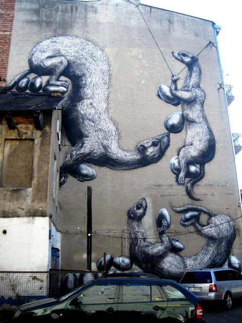 ROA New Mural For Fundacja Urban Forms In Lodz, Poland