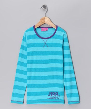 Take a look at this Turquoise Stripe Tee - Girls by Kid-Perfect Apparel Collection on #zulily today!