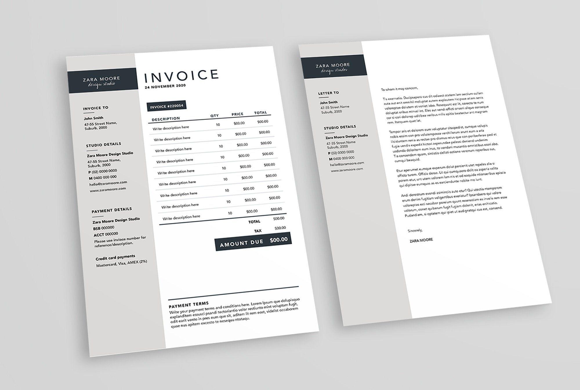 Invoice And Letterhead Templates The Zara Moore Pack Etsy Letterhead Template Invoice Template Invoice Design