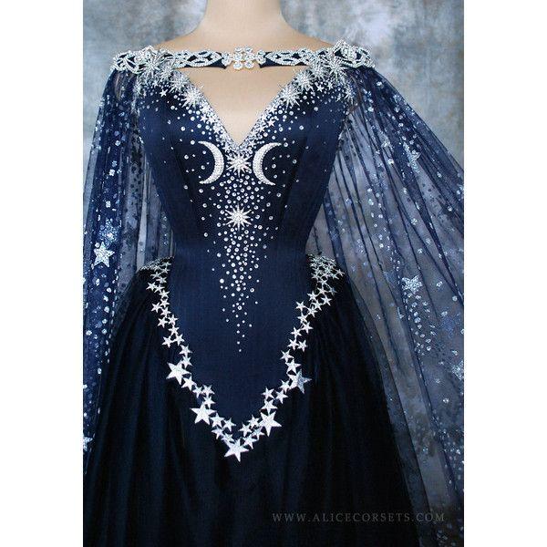 Night Goddess Elven Corset Dress Gothic Witch Wedding Gown