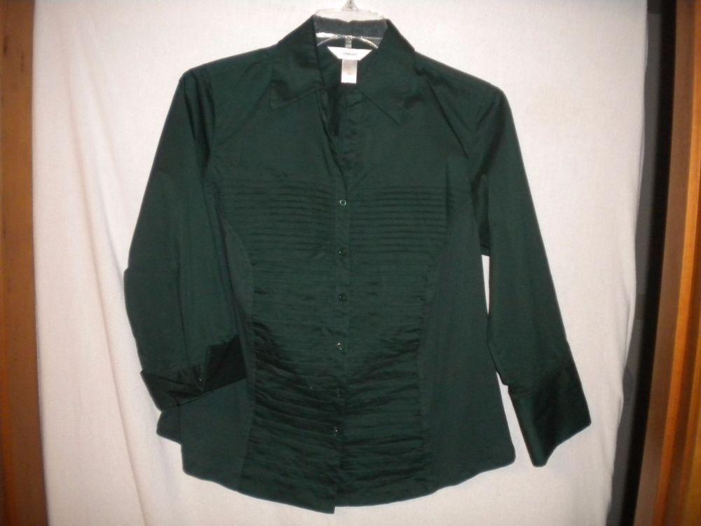 CJ Banks Plus 1X Hunter Green 3/4 Sleeve Button Womens Career Dress Shirt Blouse #CJBanks #ButtonDownShirt #Versatile