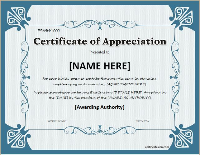 Recognition Certificate Template Thank You Certificate Template. Free  Certificate Of Appreciation .  Free Award Certificate Templates Word