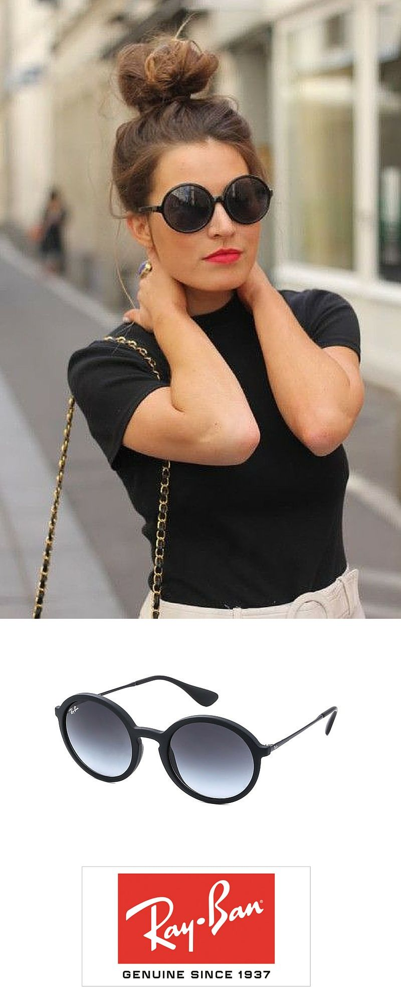2f68343d3ce09 Check out this round black RayBan sunglasses http   www