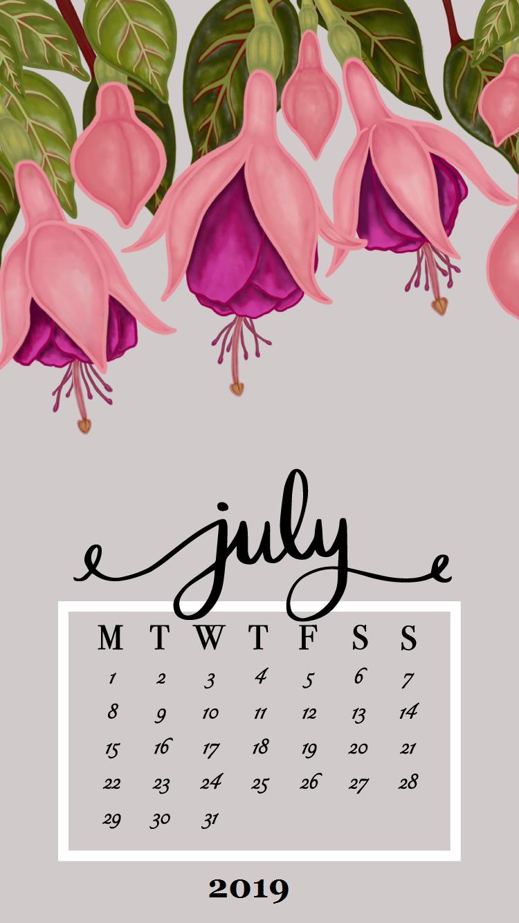 July 2019 Floral Font Iphone Wallpaper Calendar Calendar Wallpaper Floral Wallpaper Desktop Floral Font