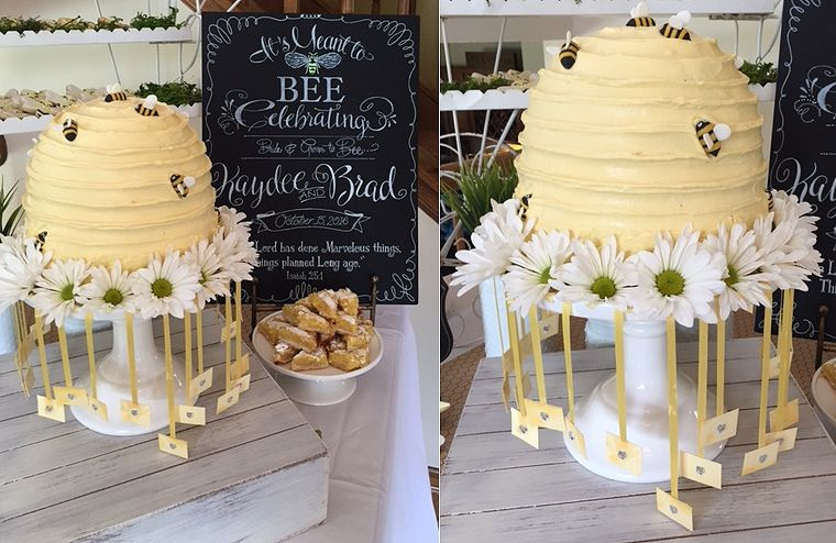 Cake Pulls Featured In A Meant To Bee Themed Bridal Shower So Much Fun Wedding Cake Pulls Bee Wedding Custom Wedding Cakes