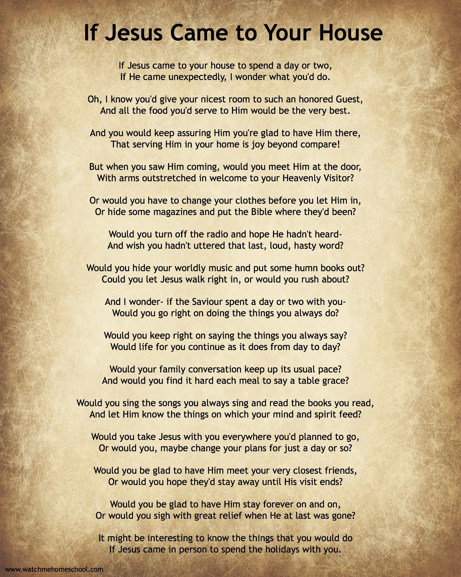If Jesus Came To Your House Poem With Free Printable