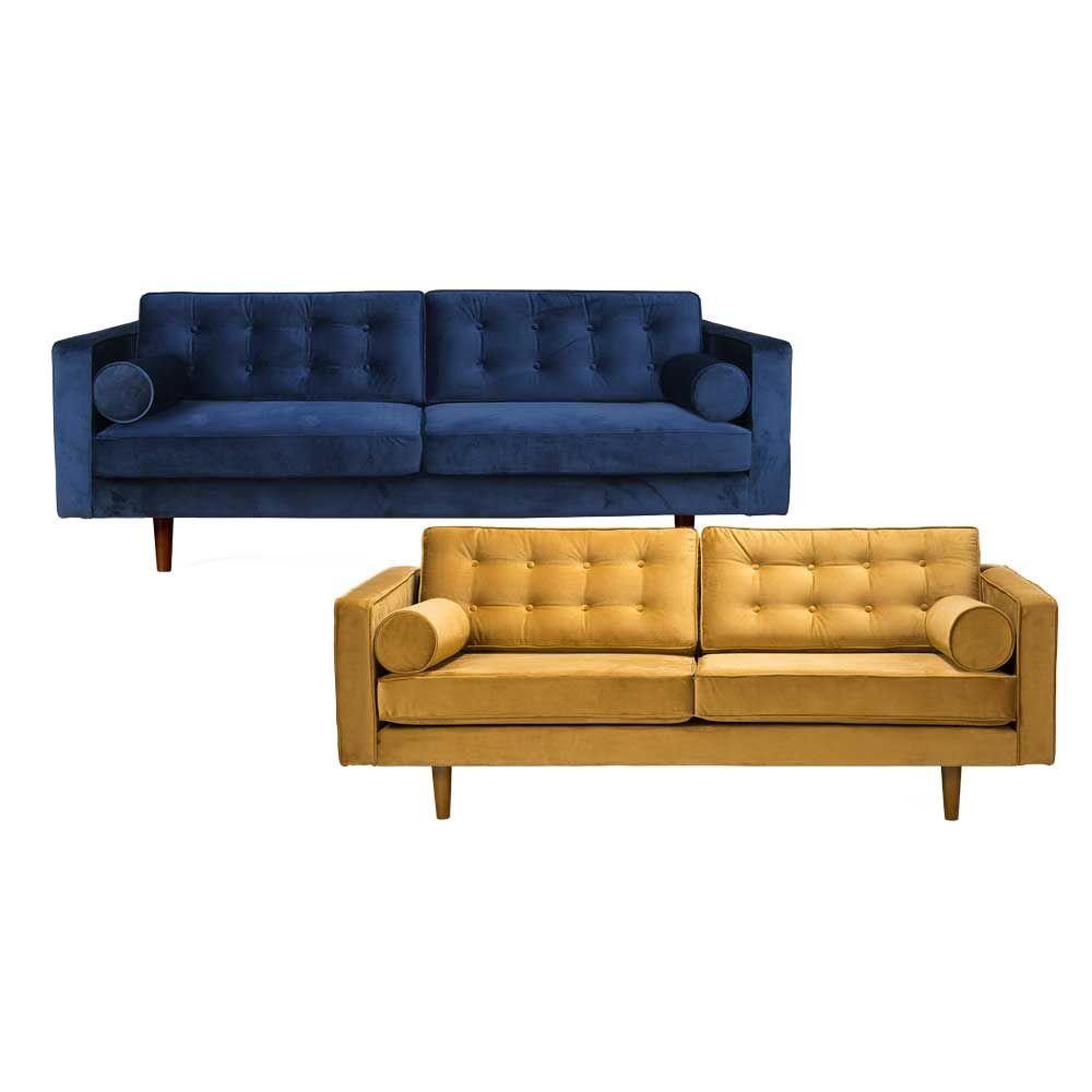 Ethnicraft Sofa N101 Samt Gelb Blau Sofa Samt Sofa Und