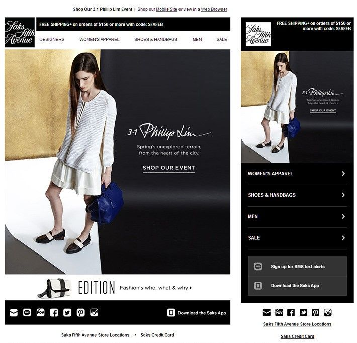 Accordion in Email sample - Saks Brand Exes Pinterest - responsive email template