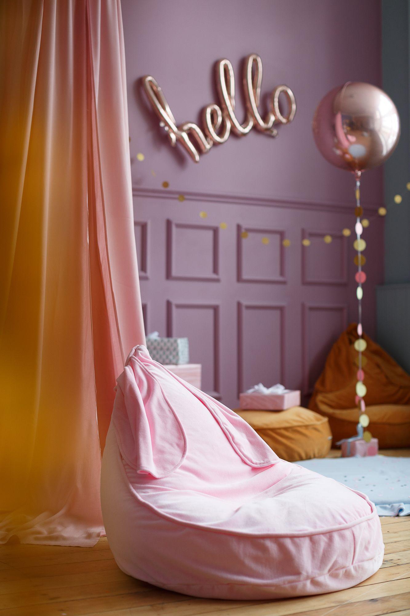 Bunny beanbag in velvet Pink Childrens bean bags, Kids