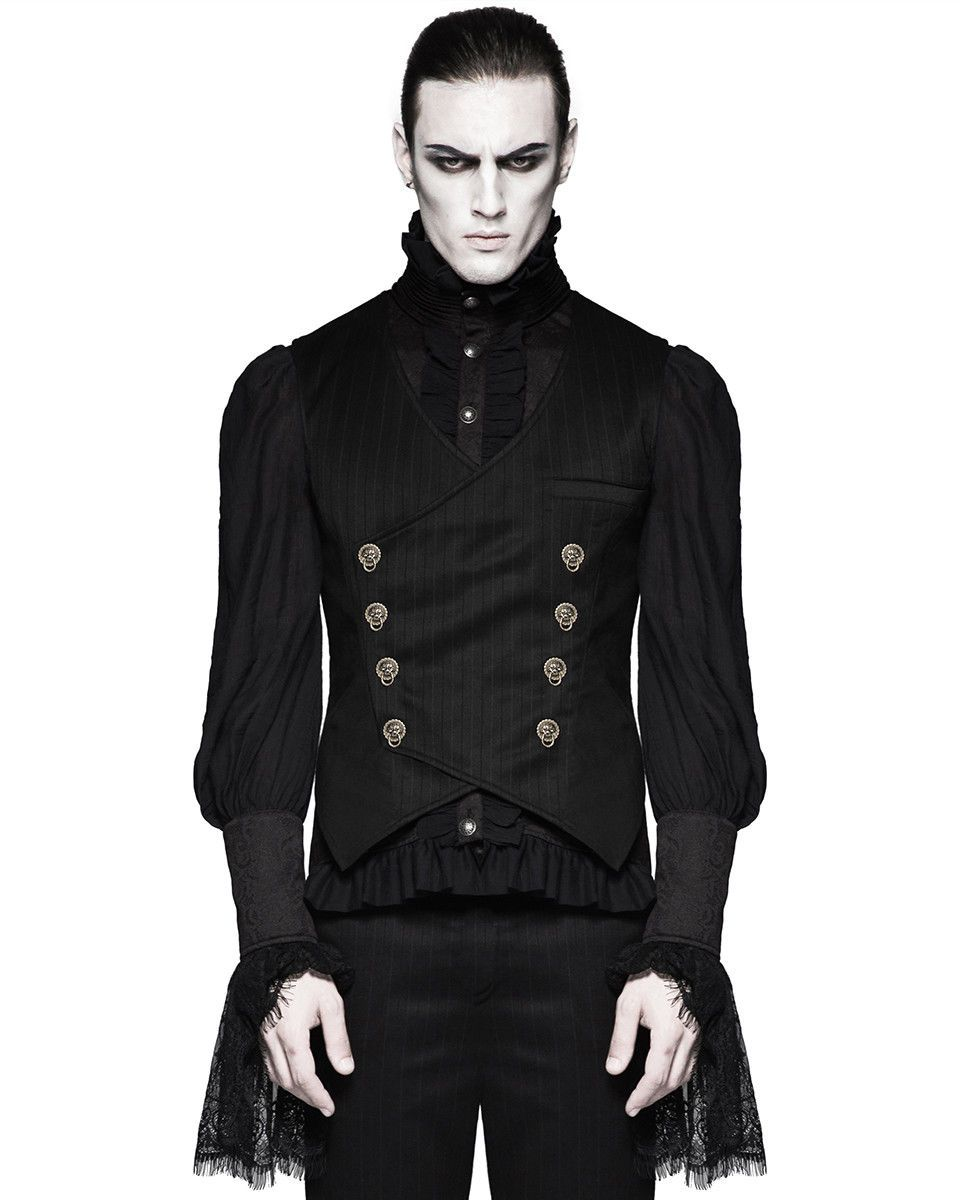 Punk Rave Mens Steampunk Waistcoat Vest Black Gothic Victorian Gentleman Wedding