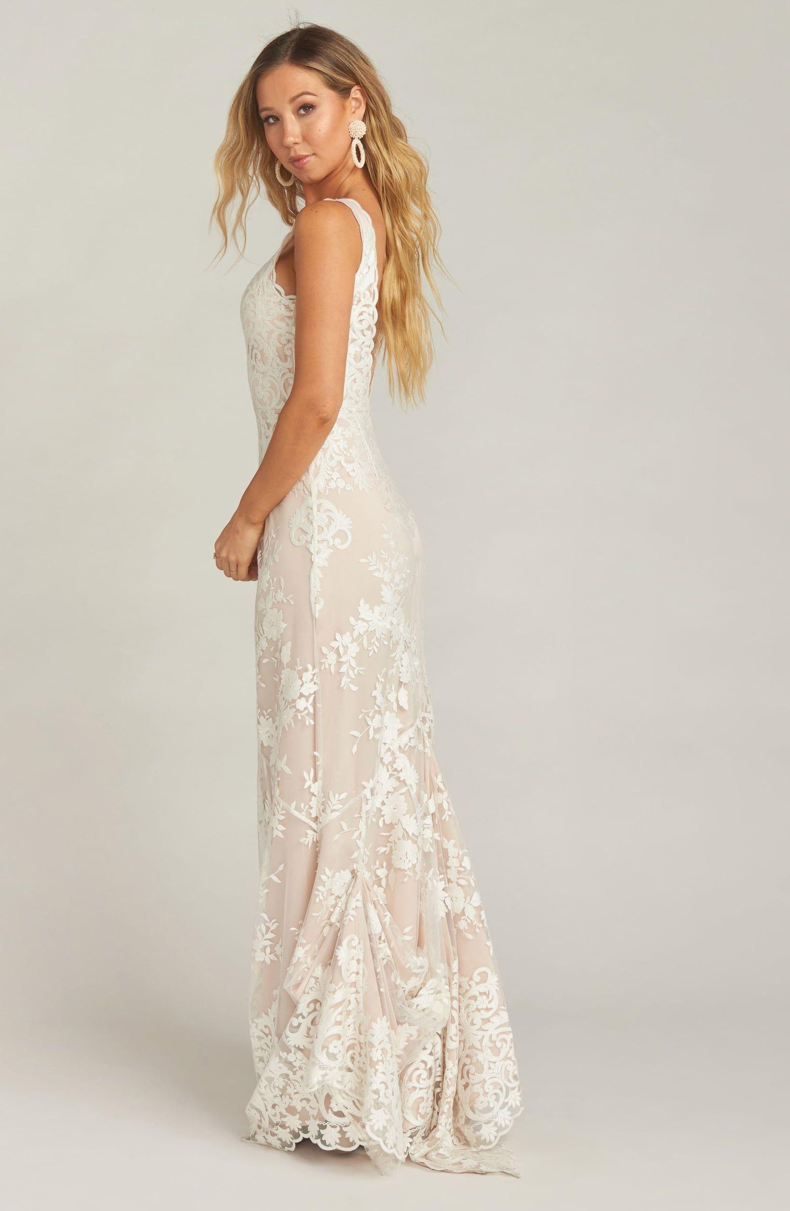 Show Me Your Mumu Contessa V Neck Lace Wedding Dress Nordstrom Wedding Dress Necklace Wedding Dresses Wedding Dresses Lace