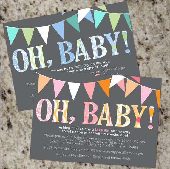 Oh baby mod baby shower invitations boy or girl or your colors oh baby mod baby shower invitations boy or girl or by whirlibird 1299 filmwisefo