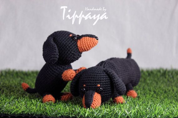 Crochet pattern of Dachshund pencil case and Dachshund | Kids ...